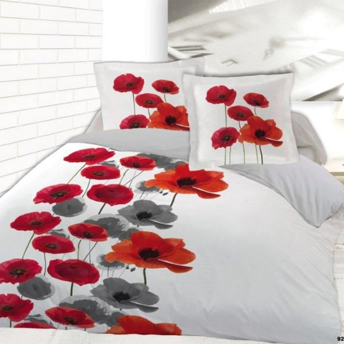 parure pour lit 2 personnes en flanelle coquelicot achat. Black Bedroom Furniture Sets. Home Design Ideas