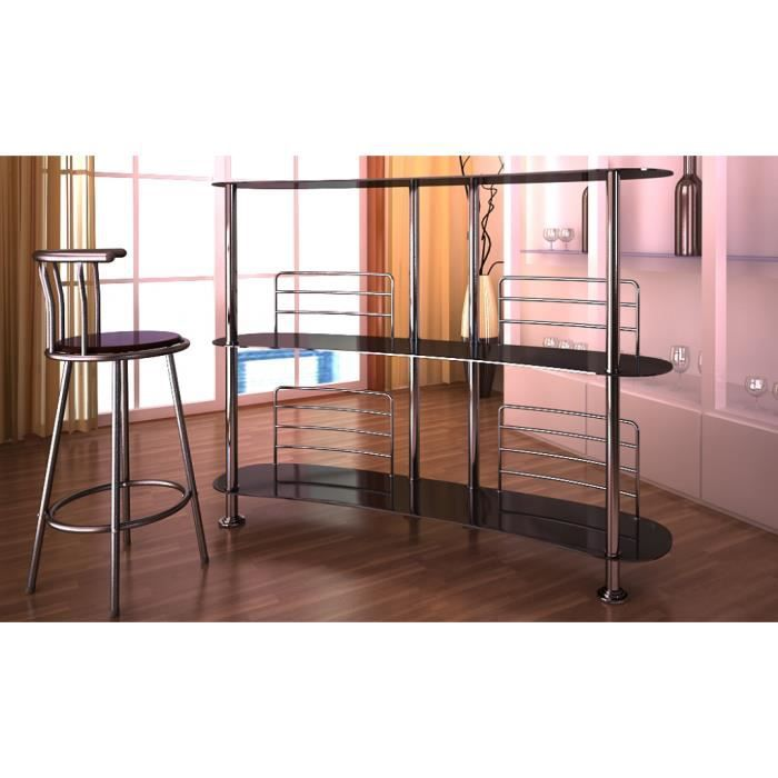 cool meuble bar meuble de bar en verre tremp noir x x with etagere murale pour bar. Black Bedroom Furniture Sets. Home Design Ideas