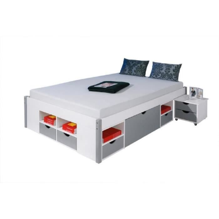 lit mikar 2 pers pin massif blanc gris sommier achat vente lit complet. Black Bedroom Furniture Sets. Home Design Ideas