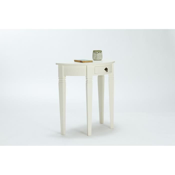 Table console catana demi lune en pin blanc massivum for Table de cuisine demi lune