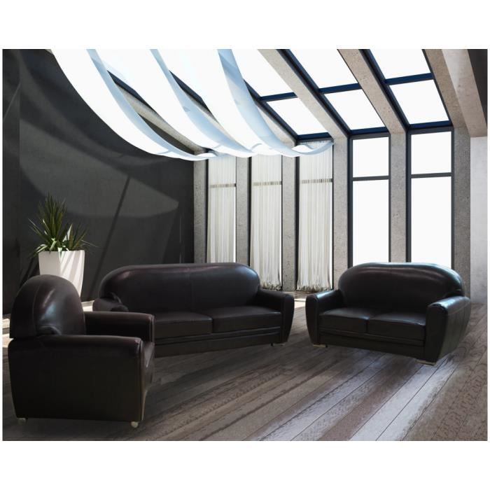salon club cuir chocolat cuir pvc achat vente salon complet cuir pvc pu panneaux de. Black Bedroom Furniture Sets. Home Design Ideas