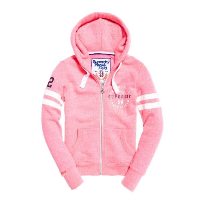 Sweat Superdry Track & Field Winning Pink Snowy Rose Achat