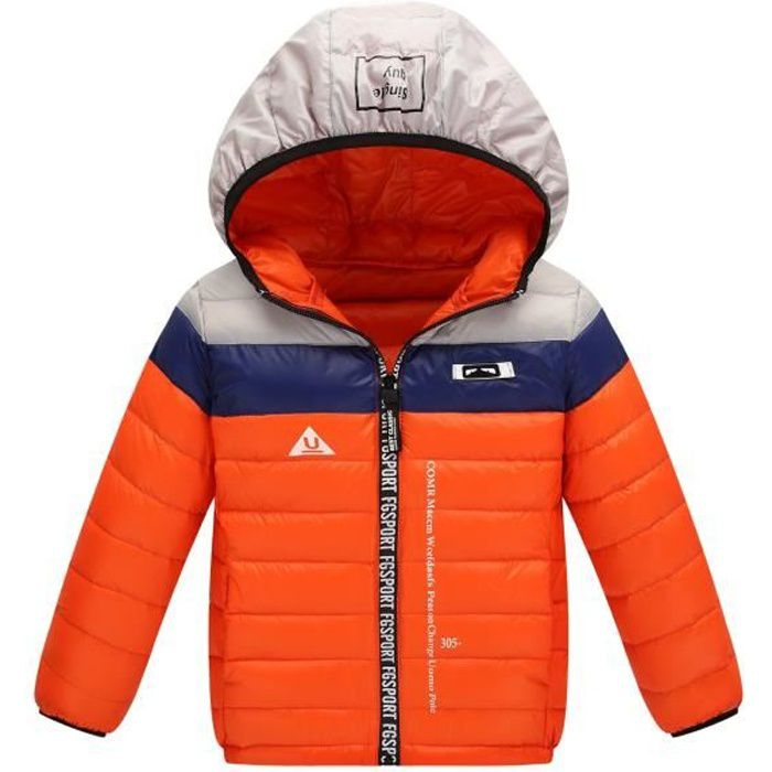 Orange Bonbon Doudoune Enfant Fille Garçon à Capuche en duvet épaisse Manteau Automne Hiver Fine et Légère 4 12 ans