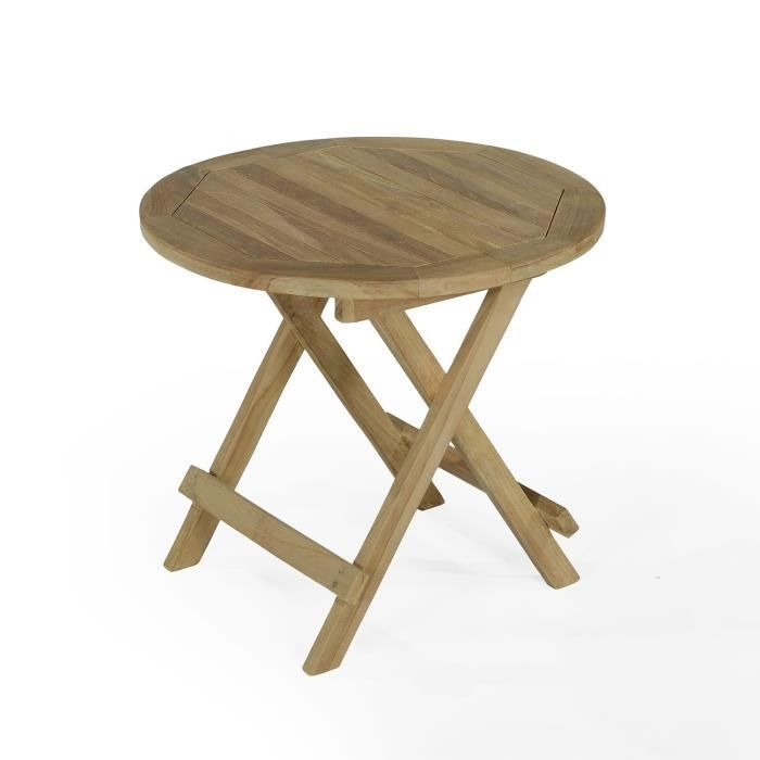 Table basse pliante ronde en teck 50 cm kuta achat for Petites tables rondes