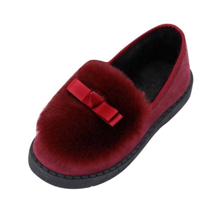 Femmes Mode pois Chaussures hiver pantoufles en coton doux  plus chaud Bow Chaussures rouge