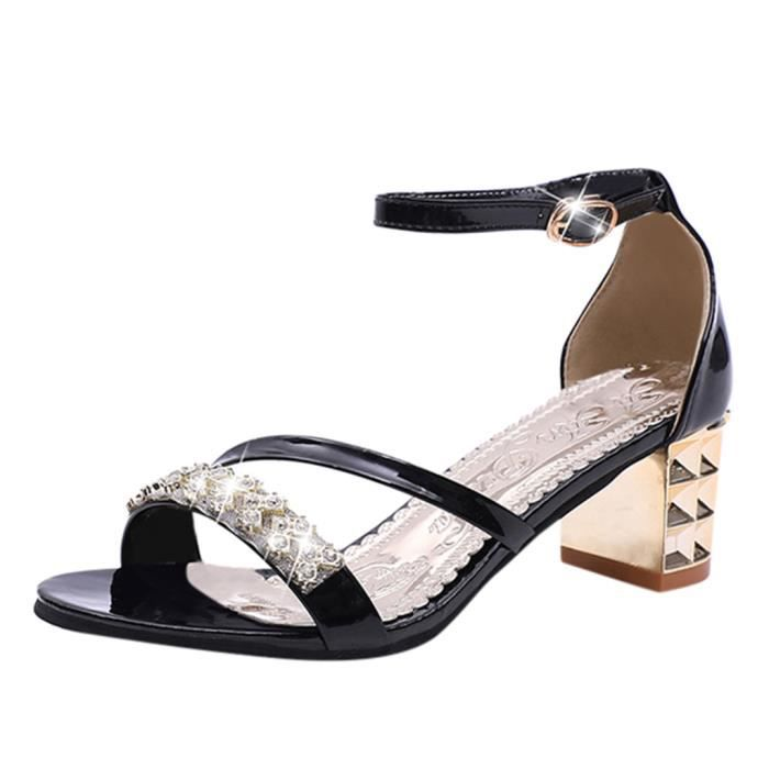 Femmes mode Femmes Cristal Boucle causales Chaussures Sandales_bub378