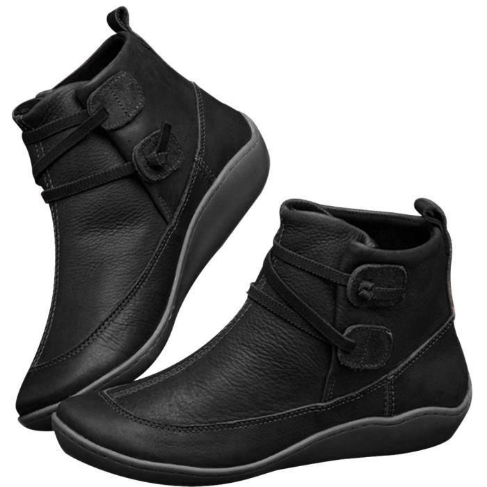 Bottes en cuir vintage chaussures plates imperméables rondes d'hiver Bottes Toe cheville de femmes Noir