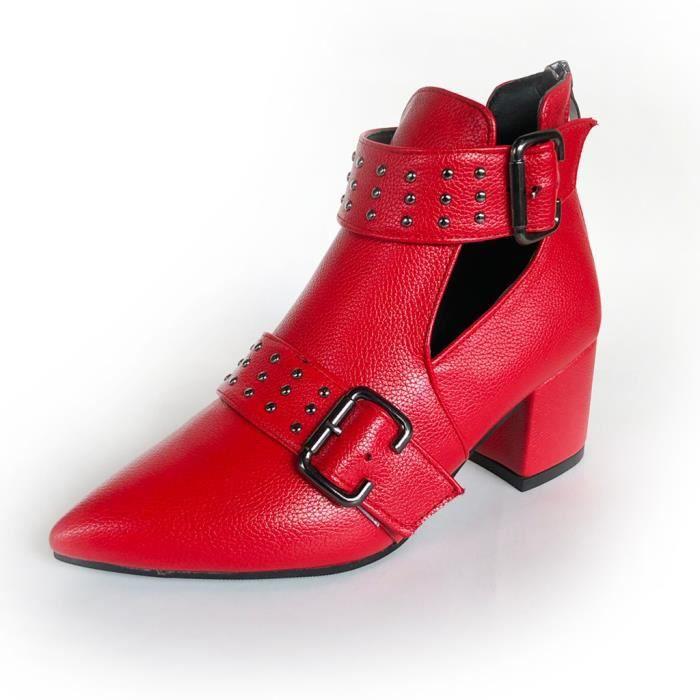 Bottes - Femmes Vintage Ladies cheville Rome Toe Casual Chaussures Pointu simples Bottess courtes Rouge 38