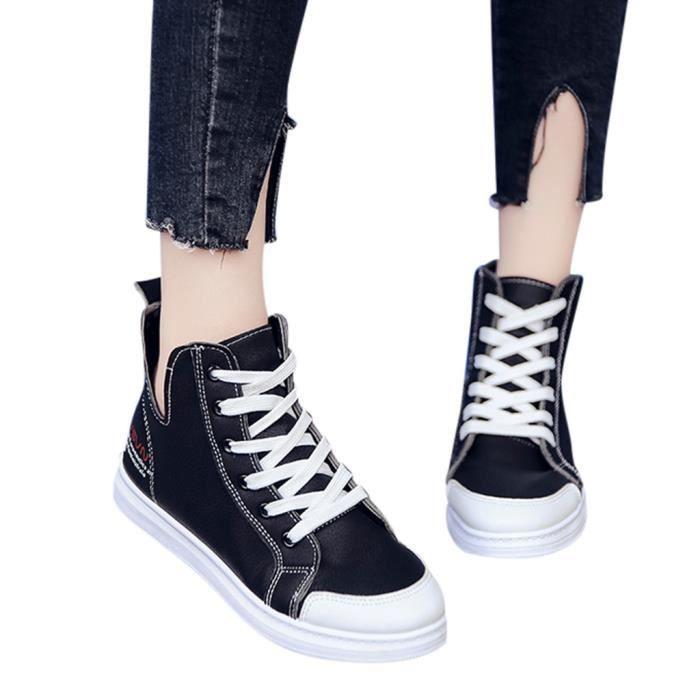 Femmes dames de la mode lacent bout rond chaussures de toile de sneaker mocassins occasionnels plats Noir