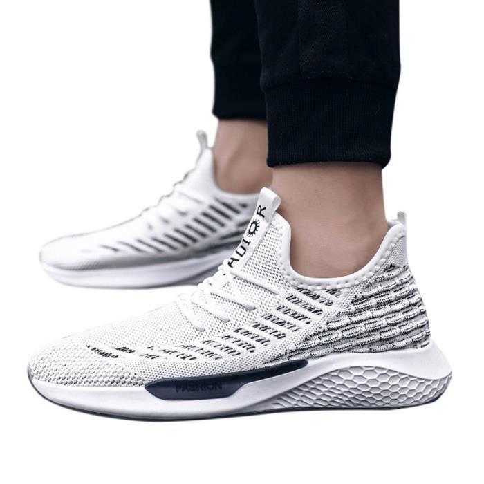 Léger Mesh Chaussures de sport respirant Mode tissé Chaussures de course d'été Hommes blanc