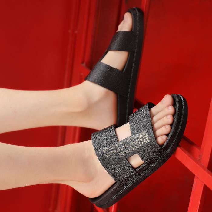 Casual Mode d'été TONG Hommes Paresseux Plage Flip-Flops Chaussures  DTG-hongxingxd564292Noir