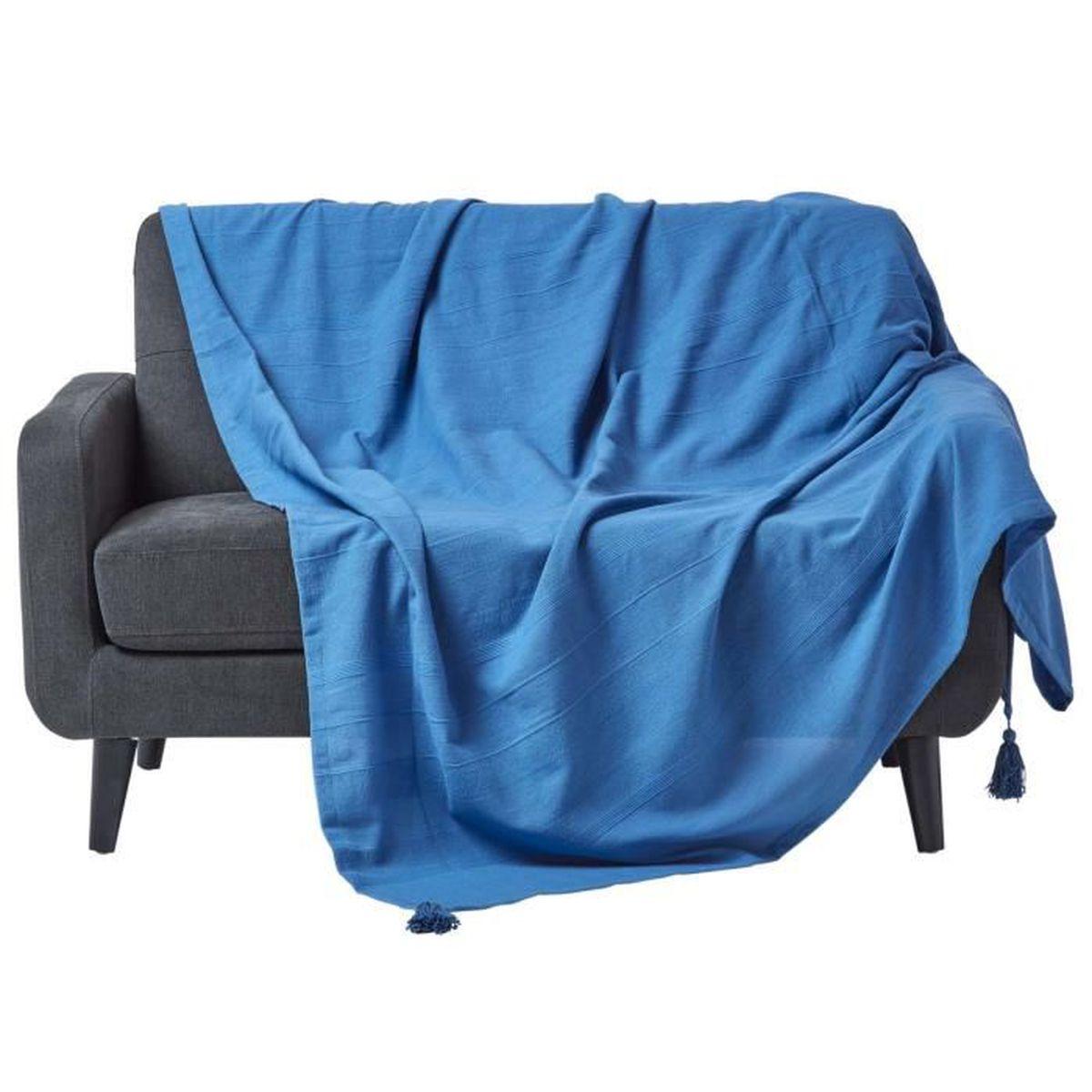JETÉE DE LIT - BOUTIS Jeté de lit ou de canapé - Rajput tissé main - Ble