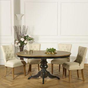 TABLE À MANGER SEULE Table ronde extensible, 6 à 8 couverts, noire, ARI