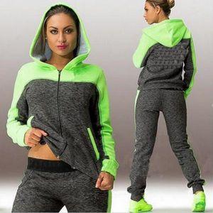 SWEATSHIRT Femmes sport deux pièces set sweat à capuche costu