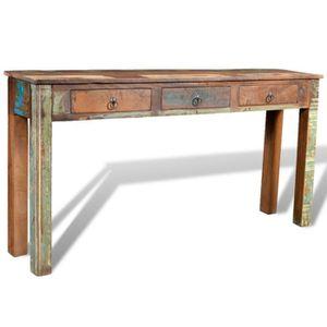 TABLE D'APPOINT Table d'appoint table longue en bois avec 3 tiroir