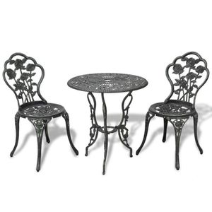 SALON DE JARDIN  Table et chaises de jardin 2 personnes + parasol