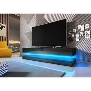 fly meuble tv design noir mat avec noir brillant eclairage la led bleue achat vente. Black Bedroom Furniture Sets. Home Design Ideas