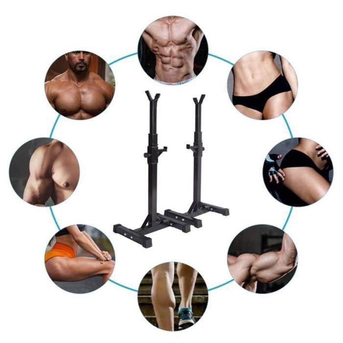 Repose Barre Musculation - Hauteur Réglable 105-160 cm - Support pour Haltères Rack Squat Noir