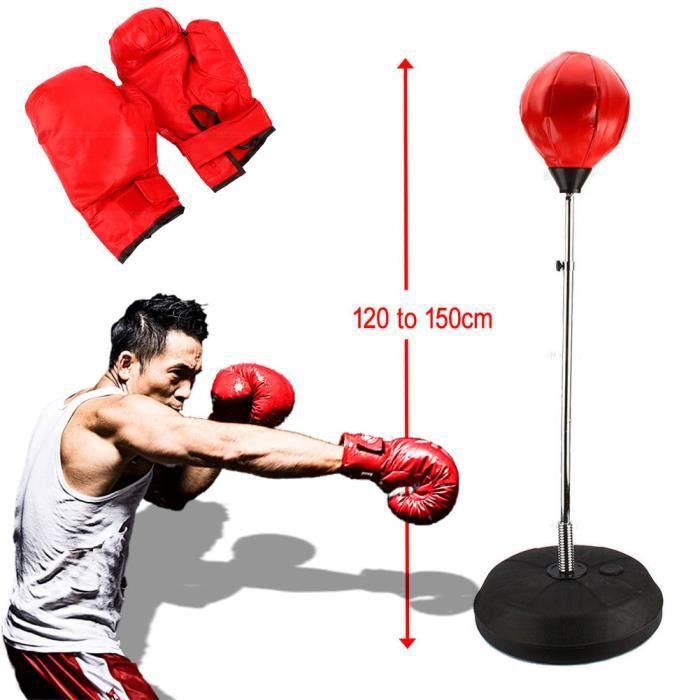 Set Sac de Frappe Boxe Entraînementde Punching Ball Réglable Pour Adulte Unisex+ Gants de Boxe+Pompe à air+Base de Pied