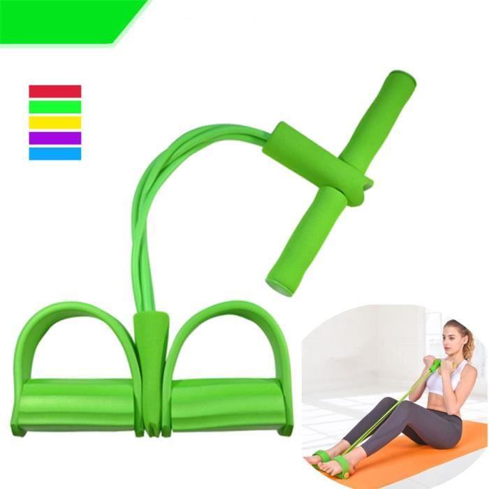 Appareil de gym 4 avec repose-pieds pour exercice - Rameur avec élastique Vert