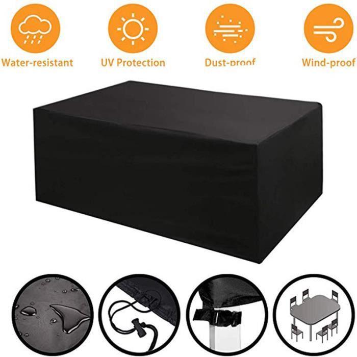 Housse de protection table de jardin étanche Housse Meuble Bâche polyester 420D - 242*162*100CM