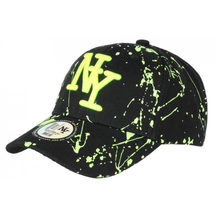 Casquette NY Jaune Fluo et Noire Style Tags Streetwear Baseball Paynter - Taille unique - Noir
