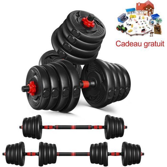 Haltère 30kg - poids ajustables - Noir rougeâtre