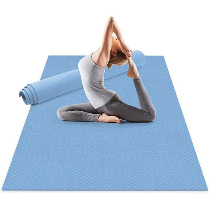 TAPIS DE YOGA Tapis de Yoga Extra Large 183x122x0.6cm, Grand Tapis Gym en TPE mat&eacuteriaux Recyclable, Ultra antid&eacuter759