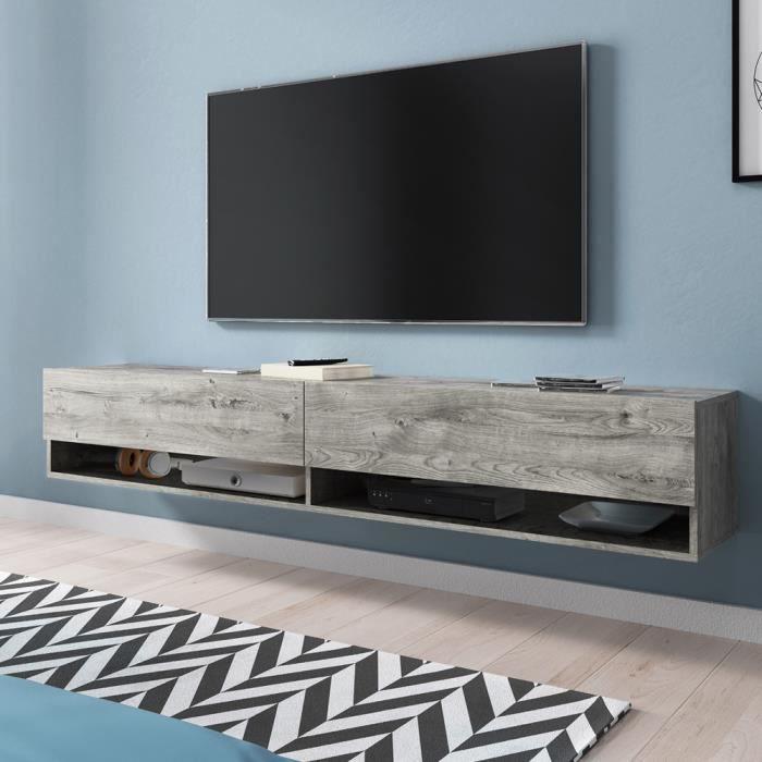 Meuble TV / Meuble de salon - WANDER - 180 cm - sans LED - chêne gris - 2 niches ouvertes - forme minimaliste