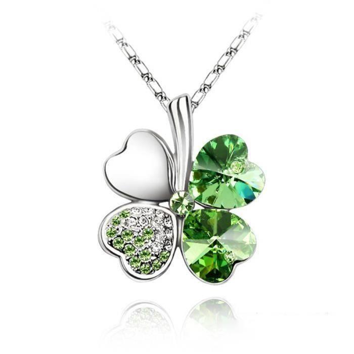 Trèfle Collier pour femme composés de cristaux d'élément Swarovski - olive verte