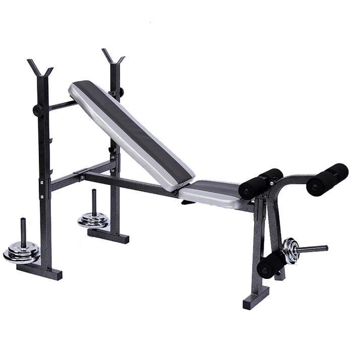 Banc de Musculation Avec Support de Barres Haltères Rack Fitness Training Gym Charge MAX 130KG