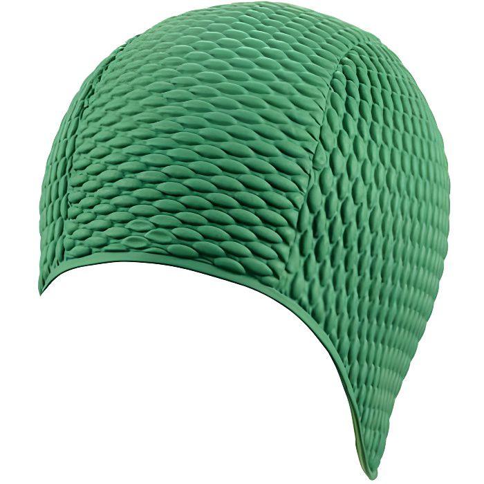 bonnet de bain femme bulles vert taille unique