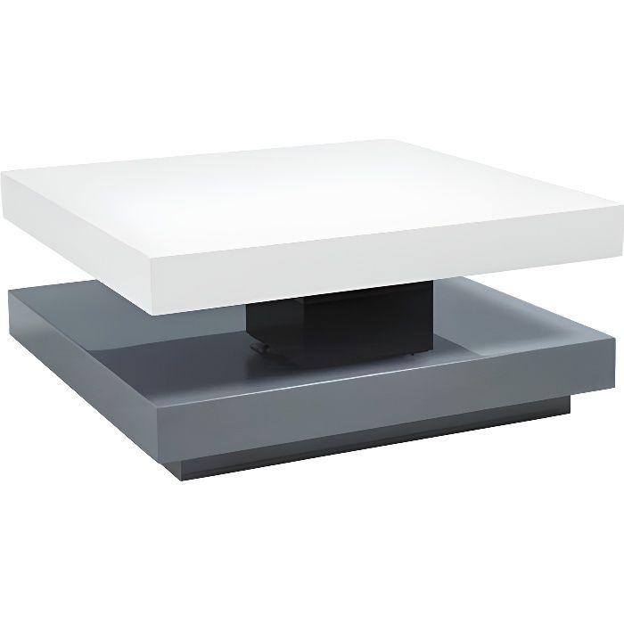 FANOL - Table basse style moderne - 35x75x75 - MDF laqué - Forme carrée - Table à café - Gris-Blanc