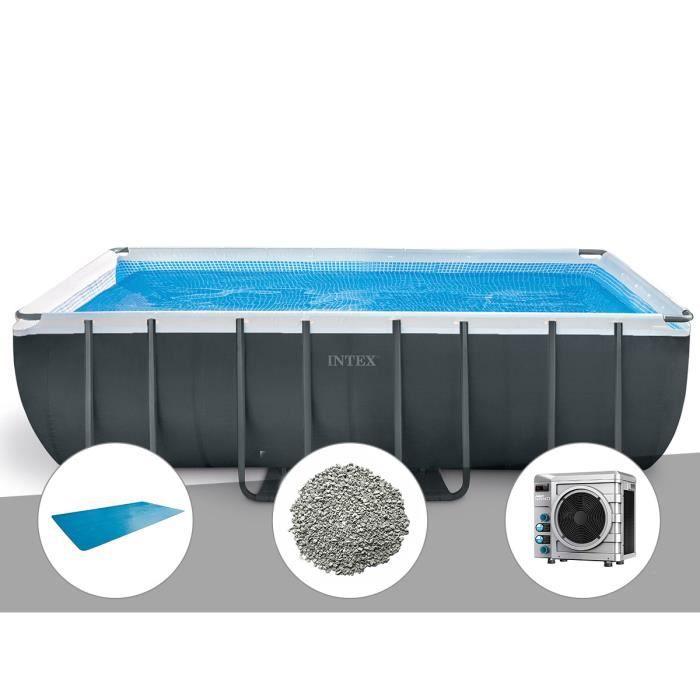 Kit piscine tubulaire Intex Ultra XTR Frame rectangulaire 5,49 x 2,74 x 1,32 m + Bâche à bulles + 20 kg de zéolite + Pompe à chaleur