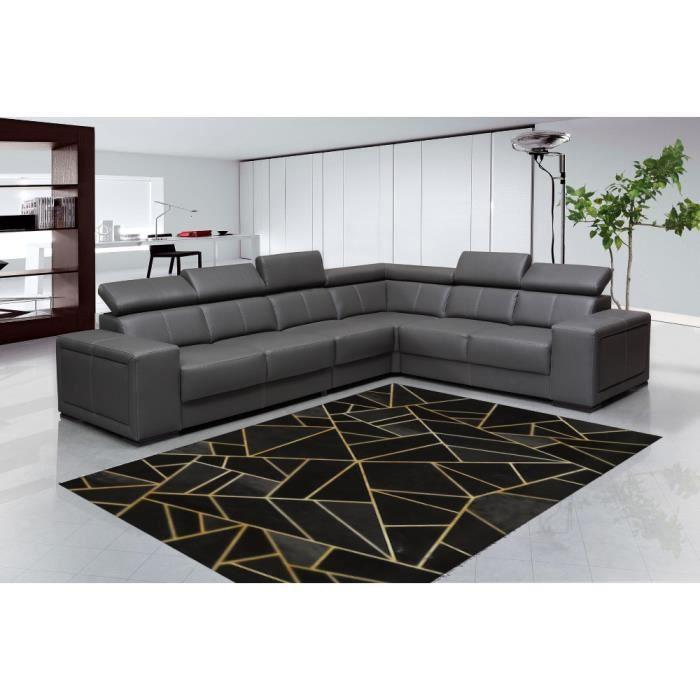 Tapis de salon Moderne Noir / Jaune Doré 200x300cm