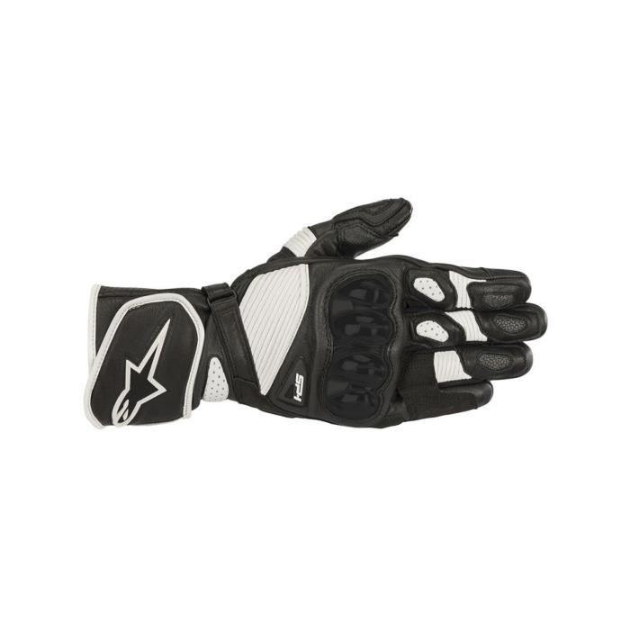 Gants de moto en cuir Alpinestars SP-1 v2 Noir Blanc