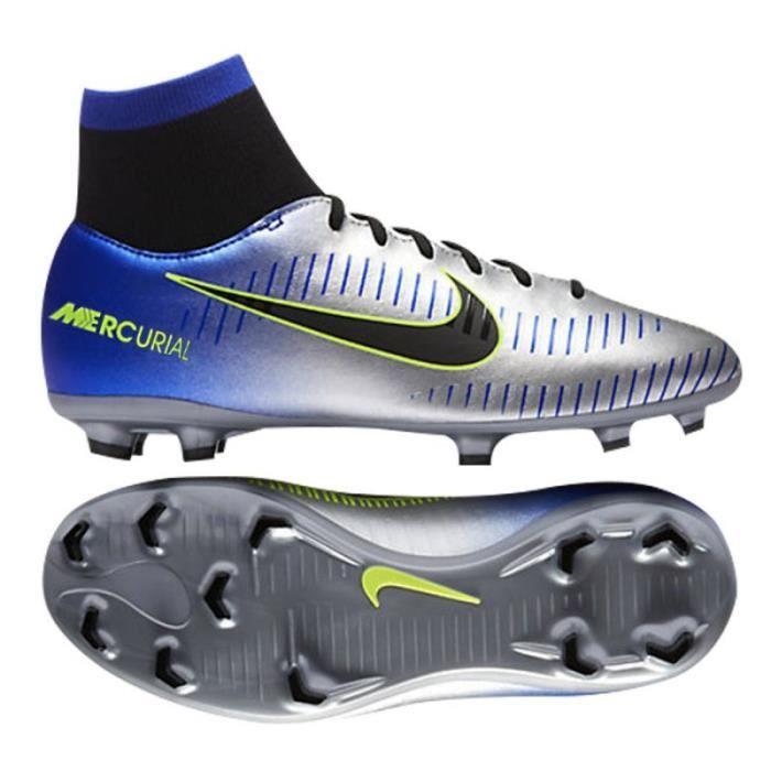 Chaussure de football à crampons pour terrain sec Neymar Jr. Mercurial Victory VI Dynamic Fit (FG) pour enfant ARGENT