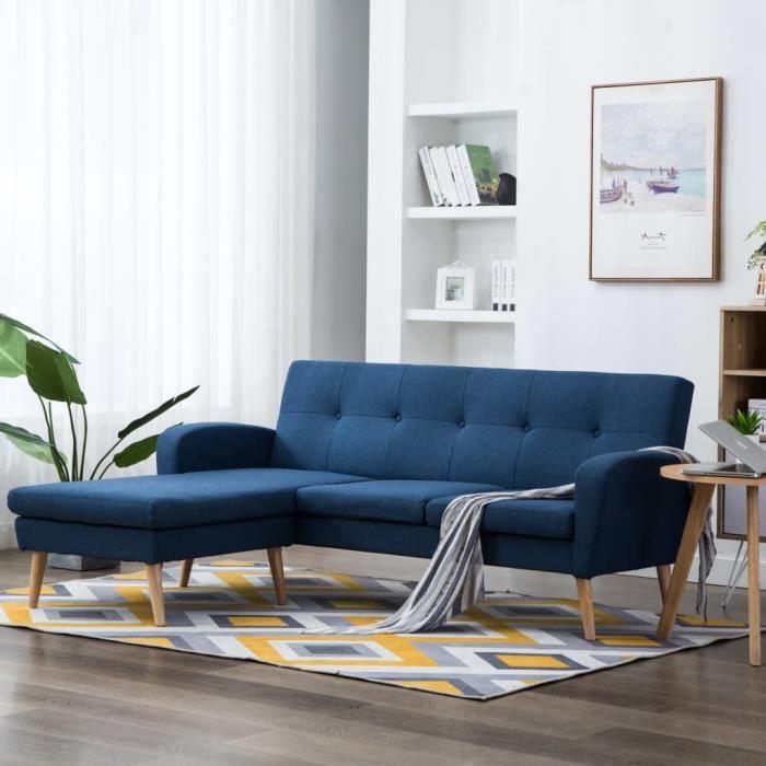 Canapé d'angle Banquette SOFA - DIVAN Canapé droit Confortable Contemporain salon Revêtement en tissu 186x136x79 cm Bleu