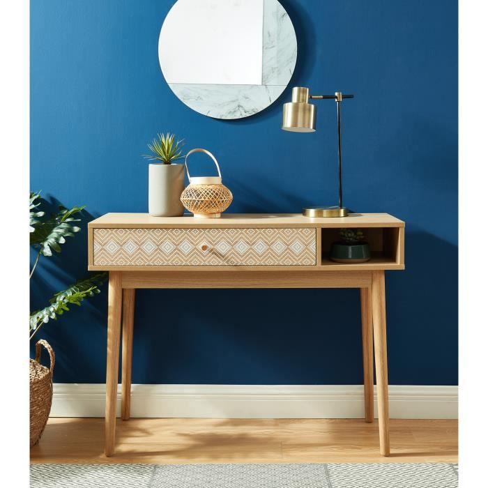 Console en bois coloris chêne - 100 x 35 x 75 cm