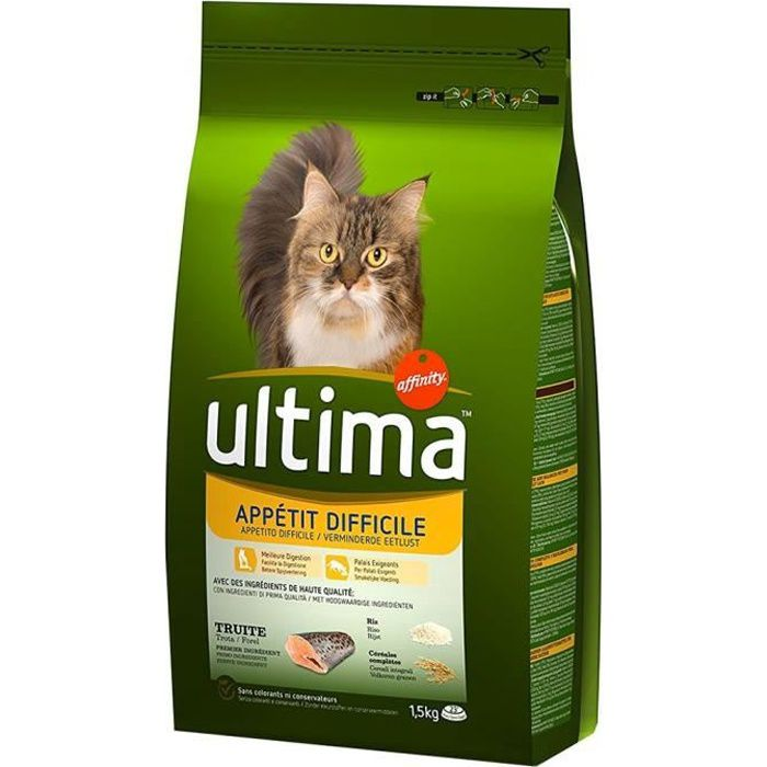 Ultima Croquettes Chat Appétit Difficile Truite 1,5Kg (lot de 3)