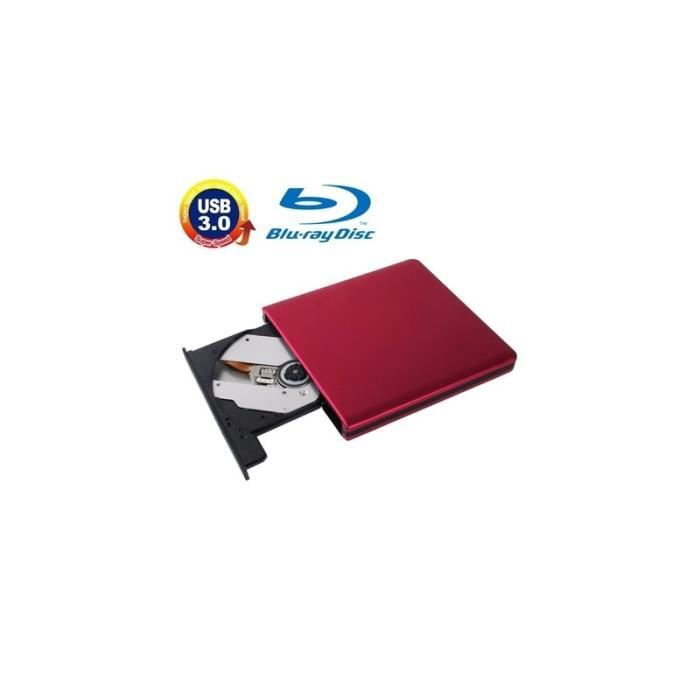 Lecteur de CD DVD USB 3.0 en alliage d'aluminium Portable réinscriptible Blu-ray 12.7mm SATA ODD HDD Plug and Play Rouge
