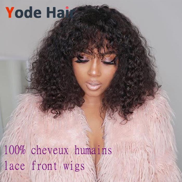 perruques 180% Deep Wave perruques brésiliennes de cheveux humains remy wave avce bangs lace front wigs 12pouces