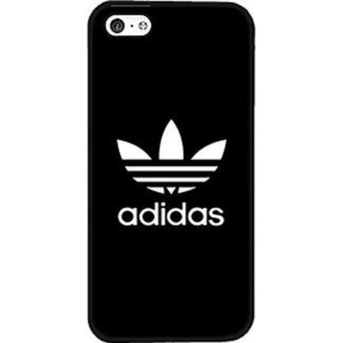 coque iphone 5c adidas noir logo blanc simple log