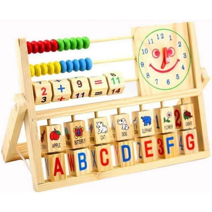 3 en 1 jeux ducatifs pour enfant b b horloge alphabet abaque calcul en bois apprentissage. Black Bedroom Furniture Sets. Home Design Ideas