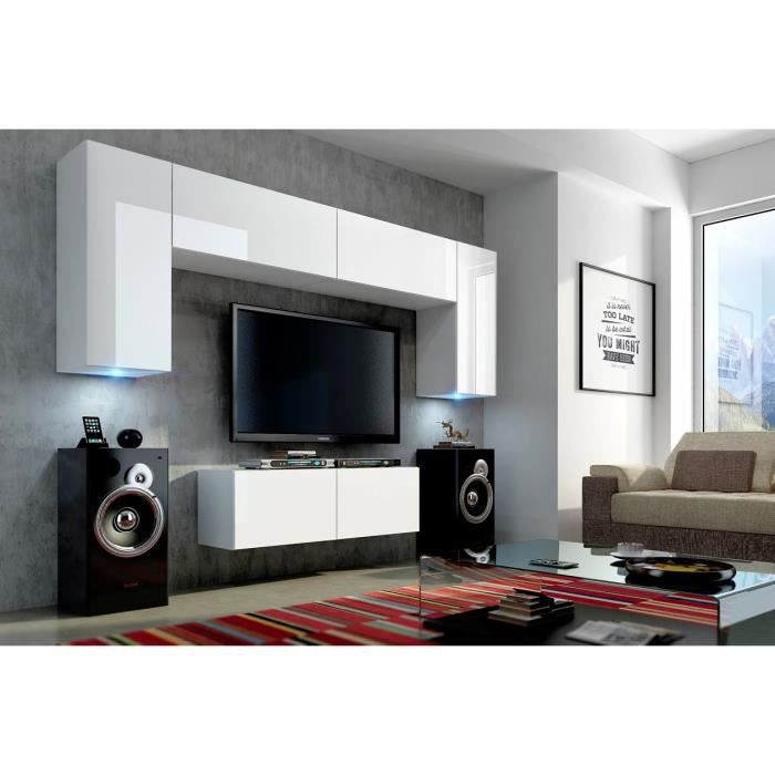 mur tv complet concept 2 blanc meilleur prix achat vente living meuble tv mur tv complet. Black Bedroom Furniture Sets. Home Design Ideas
