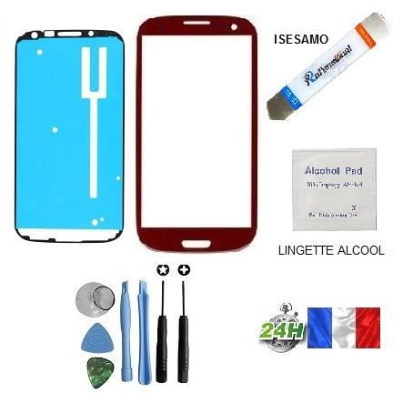vitre samsung galaxy s3 i9300 i9305 rouge kit outils plus isesamo pour reparer votre ecran lcd. Black Bedroom Furniture Sets. Home Design Ideas