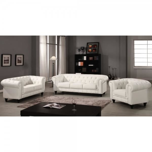 Canape chesterfield blanc capitonne 3 2 1 places achat - Canape chesterfield blanc ...