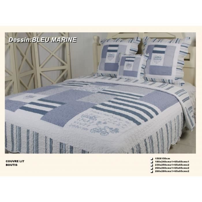 couvre lit boutis 2 places bleu marine achat vente jet e de lit boutis soldes cdiscount. Black Bedroom Furniture Sets. Home Design Ideas