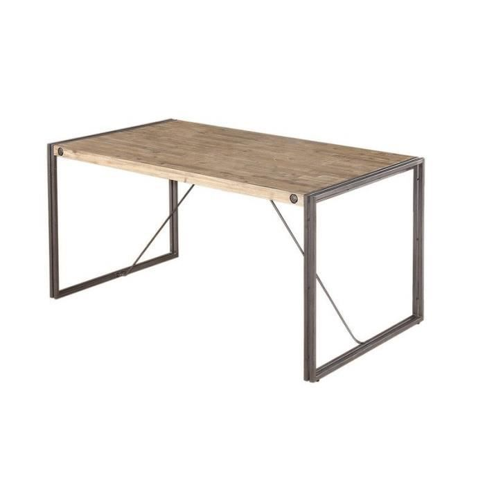 table de repas style industriel avec structure m tal et plateau en bois d 39 acacia 160 x 90 cm. Black Bedroom Furniture Sets. Home Design Ideas