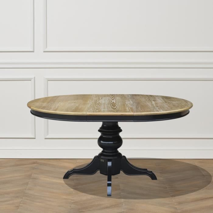 Table Ronde Extensible 6 A 8 Couverts Noire Ariane 160 Shabby Blanc